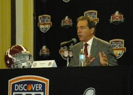 Alabama Coach Nick Saban takes questions from the press at the final news conference before the BCS Championship game in Miami