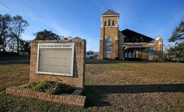 Sweet Pilgrim Baptist Church on St. Charles Avenue is seen Thursday, Dec. 27, 2012 in Mobile, Ala. The EF2 tornado which struck Mobile and Prichard Christmas day caused extensive damage to the church.