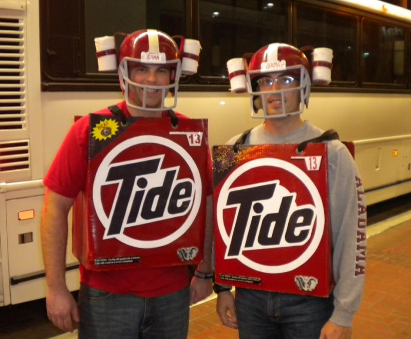 Fans of the Alabama Crimson Tide dressing in style before the start of the BCS title game in New Orleans