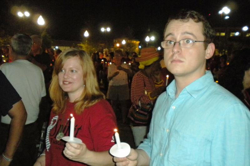 Tuscaloosa residents hold a candlelight vigil to remember those lost in the April 27th, 2011 tornado