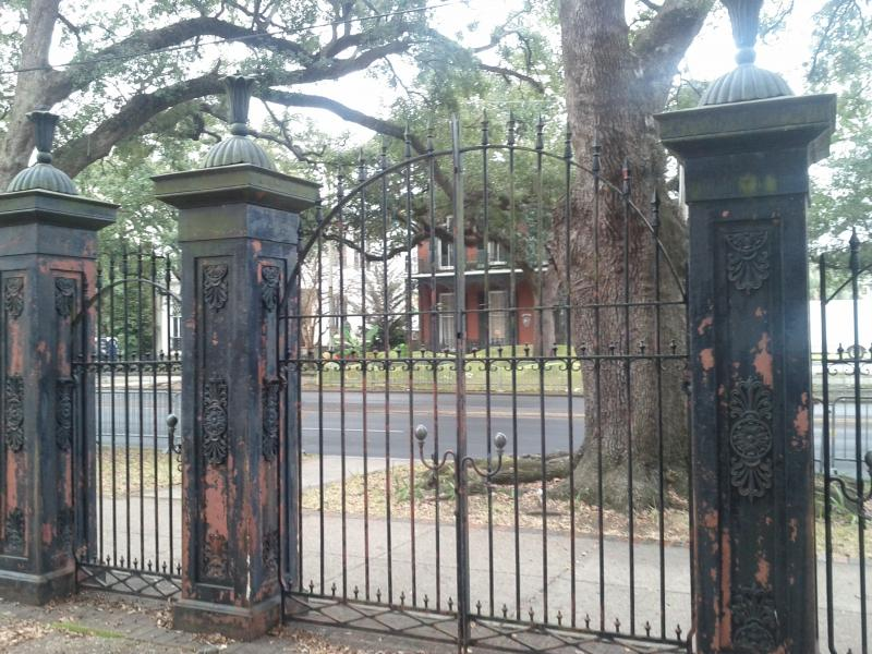 The entrance gate to Barton Academy just off of Government Street.