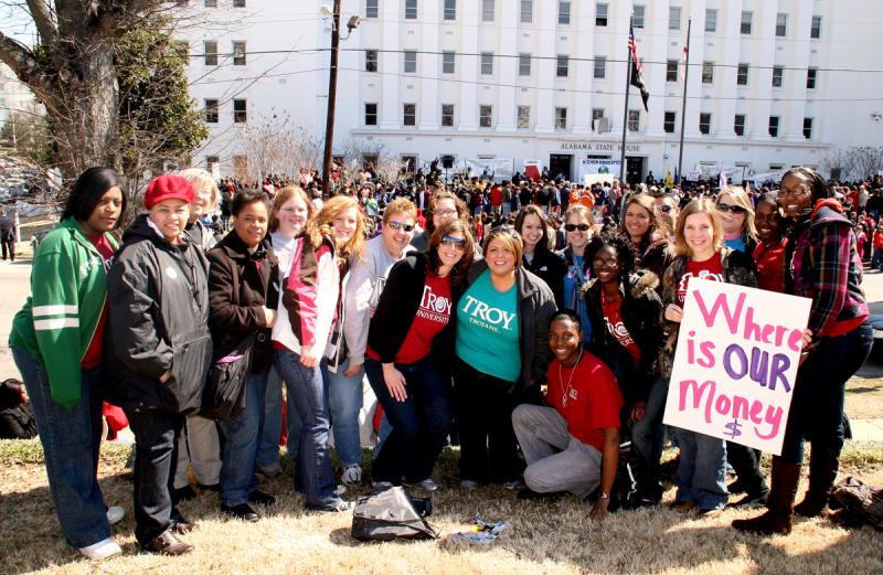 Students from Troy University joined more than 2,000 other students from Alabama's 13 public universities at the Higher Education Day rally in front the Alabama State House in downtown Montgomery on Thursday, March 4, 2010.