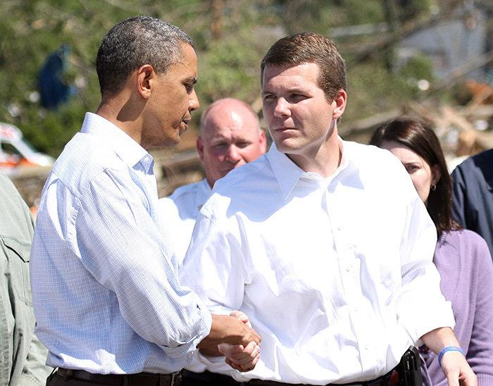 Tuscaloosa Mayor Walt Maddox walks with President Obama as they tour the storm damage on April 29, 2011.