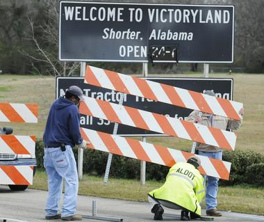 Baracades are installed at the entrance to Victoryland Casino in Shorter, Ala. on Tuesday, Feb. 19, 2013, after Attorney Gen. Luther Strange shut the casino down.