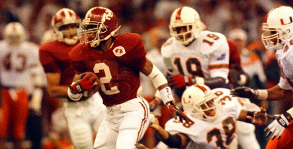 Alabama's David Palmer during the 1992 championship game against Miami