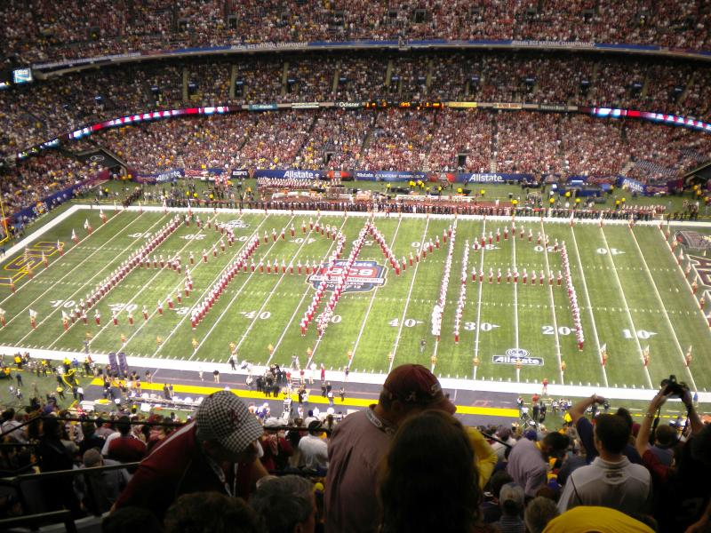 "The University of Alabama's ""Million Dollar Band"" performs prior to the start of the 2012 BCS College Football Championship in New Orleans"