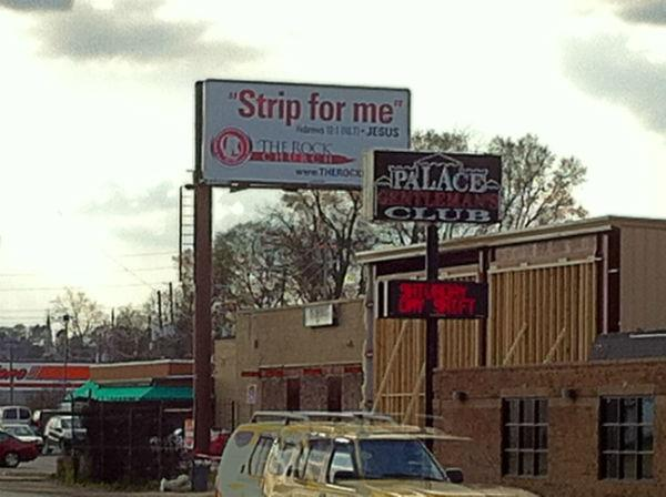 "A Birmingham church billboard with its ""Strip for me"" quote from the Bible is causing a stir."
