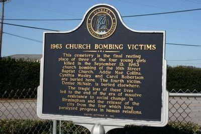 an essay about the church bombing in alabama in 1963 The 16th street baptist church bombing was an act of white supremacist terrorism alabama, on sunday, september 15, 1963.