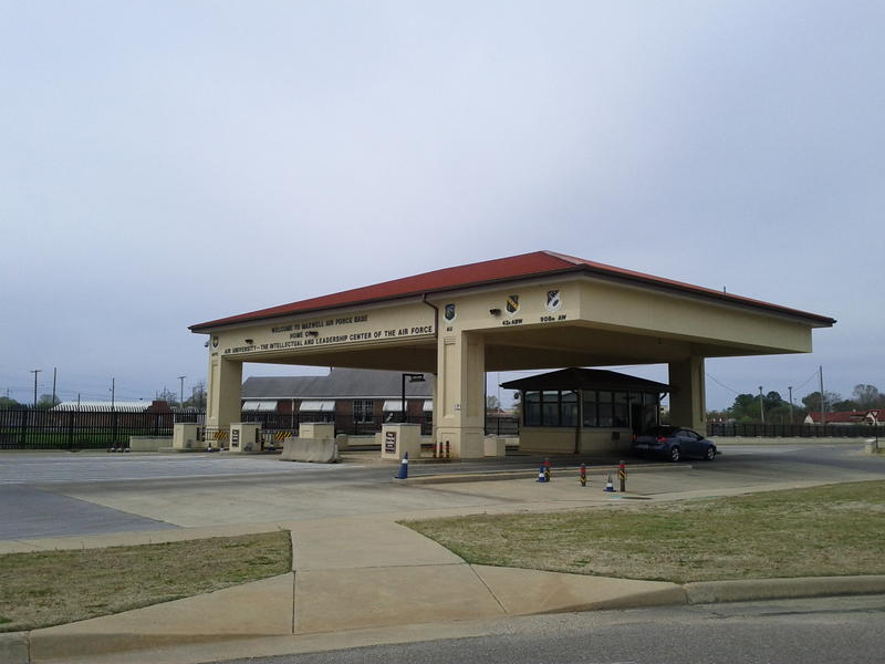 The front gate to Maxwell Air Force Base in Montgomery.