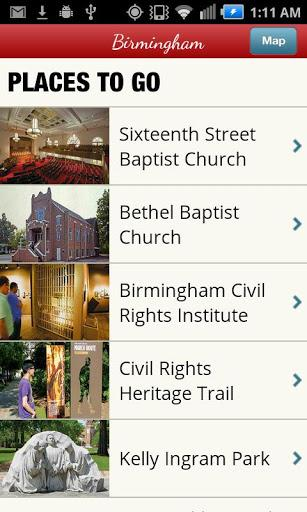 The Civil Rights Trail app includes sites in several cities, including Birmingham.