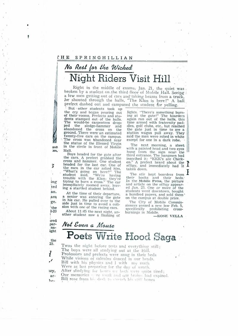 A news article in The Springhillian, the college's student newspaper, describing the 1957 KKK incident on campus.