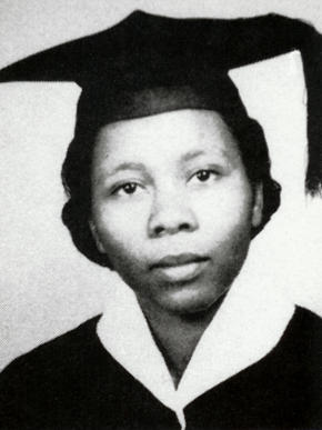 Fannie Smith Motley in her graduation garb. She graduated with honors from Spring Hill College in Mobile in 1956 and went on to a teaching career in Mobile and later in Cincinnati, Ohio.