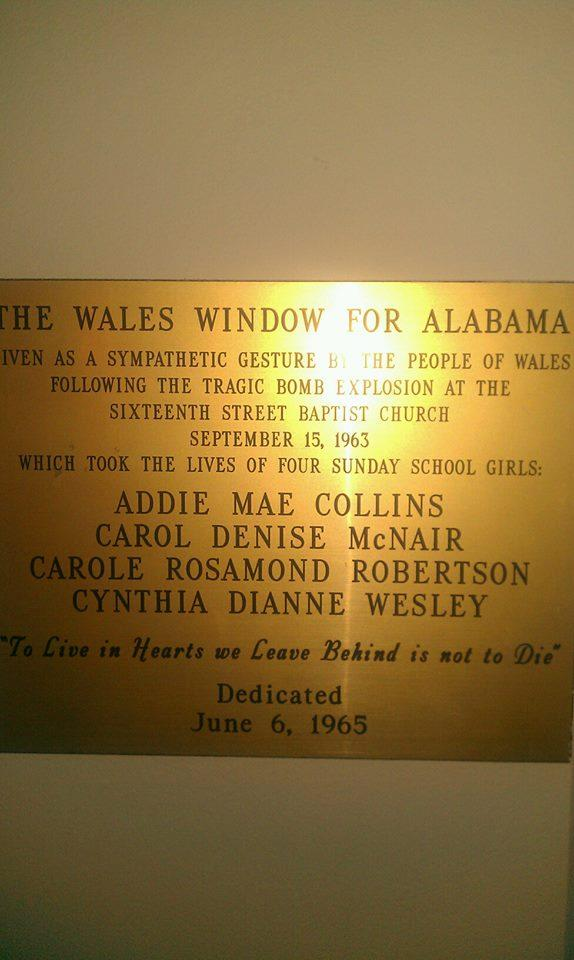 Wales Window Dedication Plaque