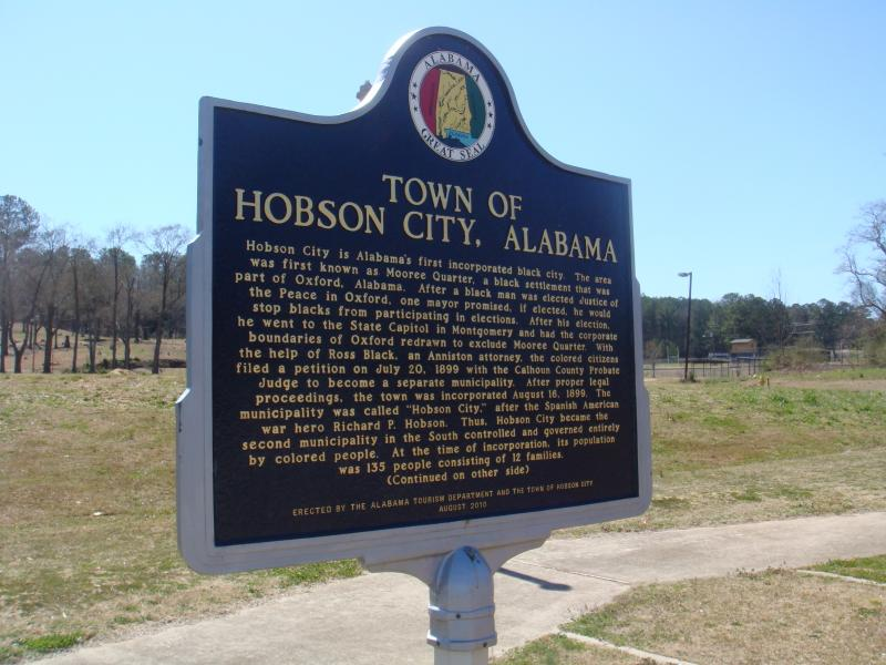 Hobson City was incorporated as Alabama's first all-black city in 1899.