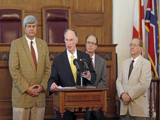 Governor Bentley announces funding for new coastal restoration projects during a news conference at the State Capitol.