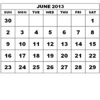 calendar showing month of June 2013