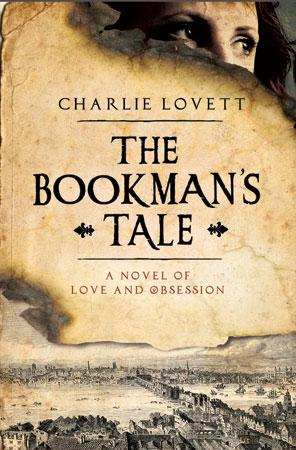 "Cover for ""The Bookman's Tale""   by Charlie Lovett  - showing old parchment with face peering from behind the top right corner and a sepia landscape at the bottom of the page"