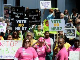 A rally at the capitol earlier this month drew both protestors and supporters of an abortion clinic regulation bill.