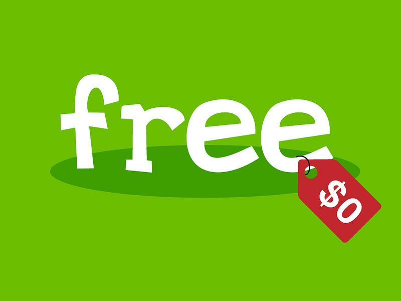 """Green sign with the word """"free"""" written in white and a red price tag reading """"$0"""""""