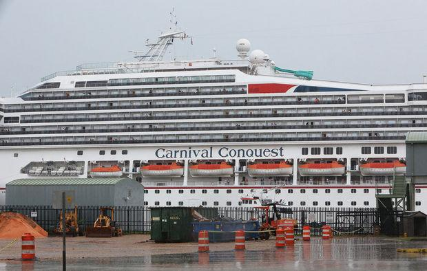 Carnival's Conquest cruise ship was diverted to Mobile over the weekend after a tugboat sank in the Mississippi River.