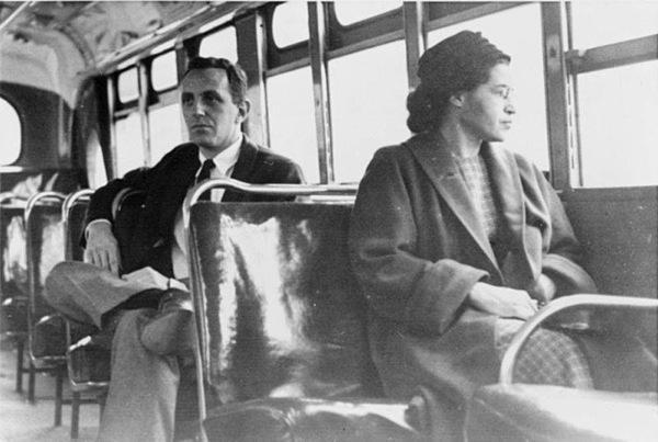Rosa Parks refused to give up her seat in 1955. Her arrest led to the Montgomery Bus Boycott.