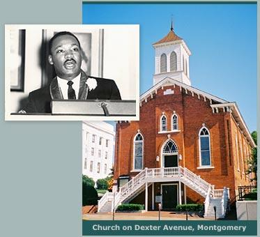 "Dexter Avenue Baptist Church in Montgomery will ring bells at 2 o'clock to commemorate Dr. Martin Luther King Junior's ""I Have a Dream"" speech. King was pastor at the church 1954-1960."