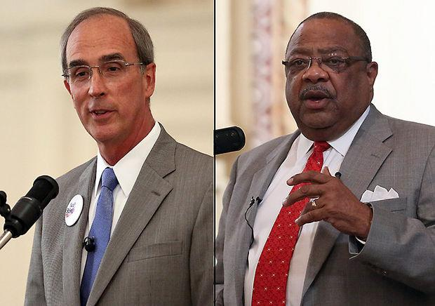 Mobile Mayor Sam Jones, right, is facing two challengers in Tuesday's mayoral race, including Sandy Stimpson, left.
