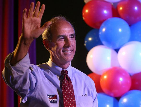 Standy Stimpson celebrates his victory over incumbent Mayor Sam Jones. Simpson carried more than 53% of the vote.