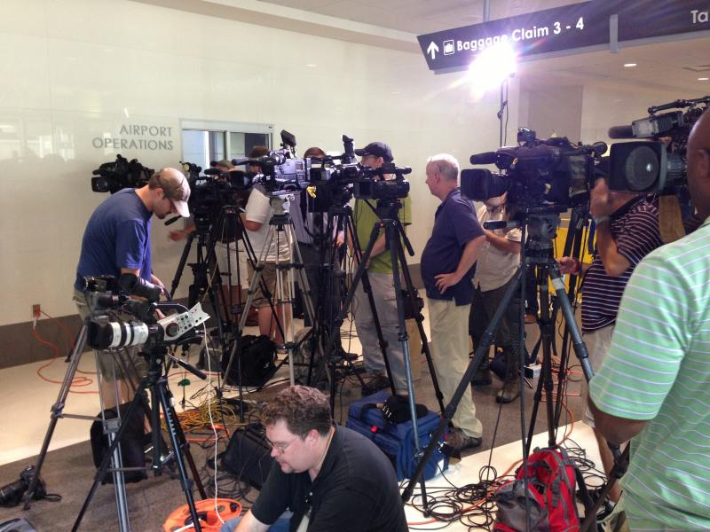 Assembled press for NTSB conference on the UPS jet crash near Birmingham