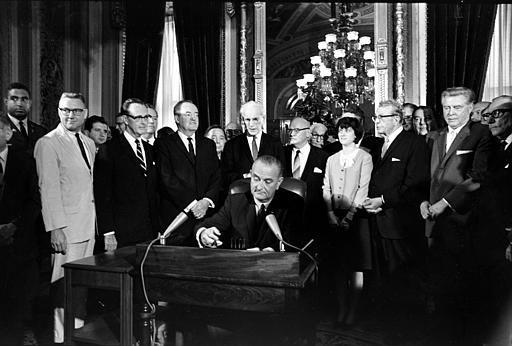 President Lyndon Johnson signed the Voting Rights Act in 1965.