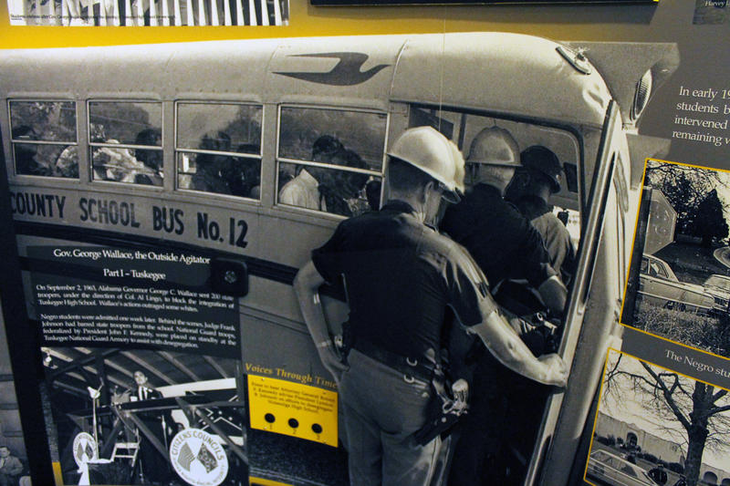 Part of the exhibit at the Tuskegee center talks about the struggles of desegregating Tuskegee High School. Here, a photo from 1963 shows Alabama state troopers blocking the 13 black students from entering the high school on September 2, 1963.