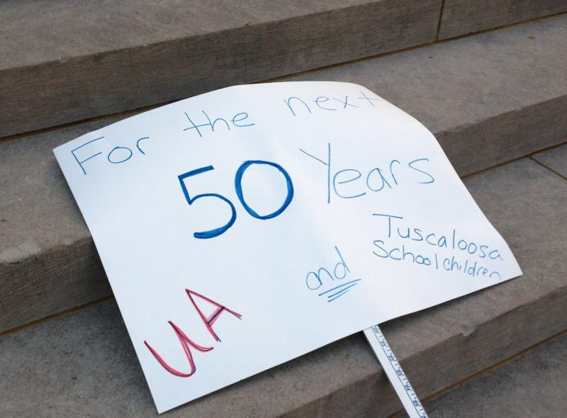 Protest sign during UA student rally against sorority racism