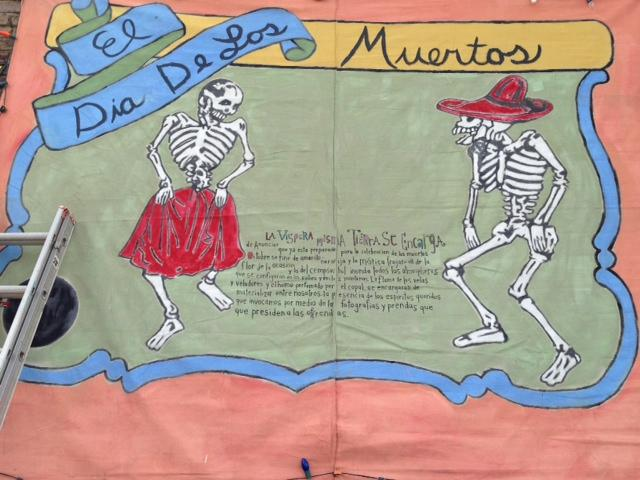 A decorative description of the Dia de los Muertos or the Day of the Dead.