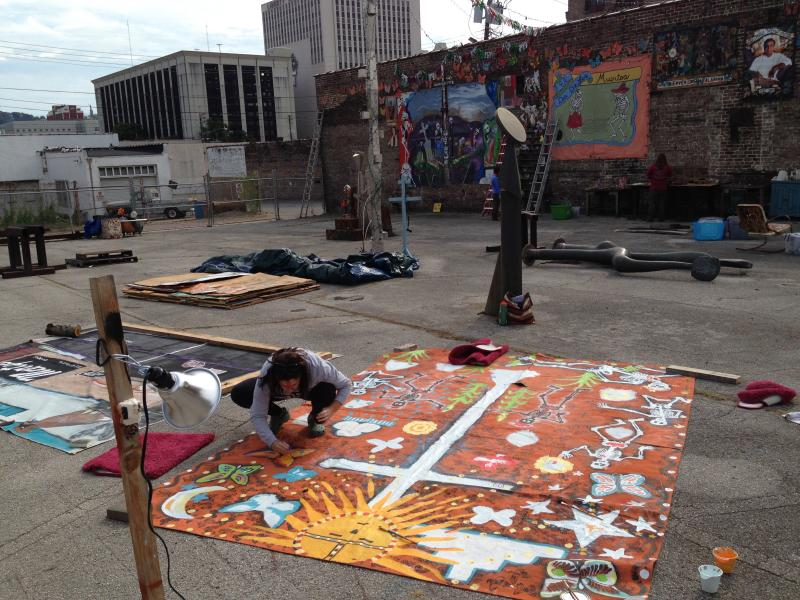Volunteers preparing the courtyard for the the Day of the Dead Festival in Birmingham.