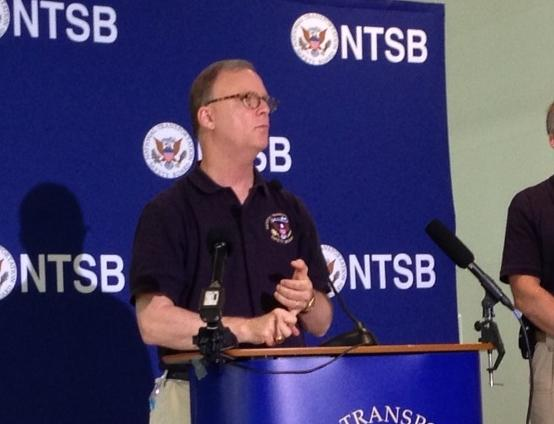 NTSB Board member Robert Sumwalt addresses reporters within hours of the UPS cargo jet crash