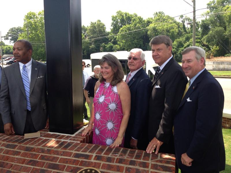 Amanda Wright-Lane, great grand niece of Orville and Wilbur Wright cuts the ribbon on Wright Brothers park in Montgomery