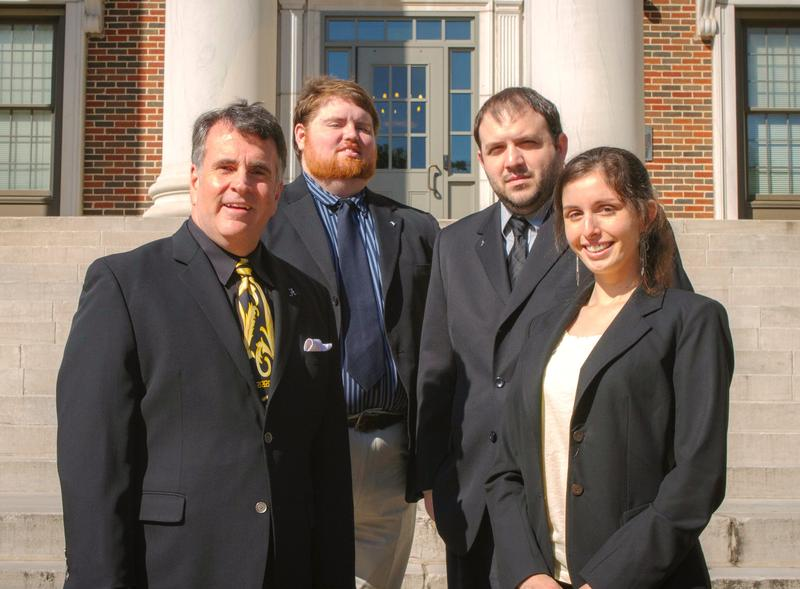 The Alabama Public Radio news team. L to R-- News Director Pat Duggins, and reporters Stan Ingold, Ryan Vasquez, and Maggie Martin