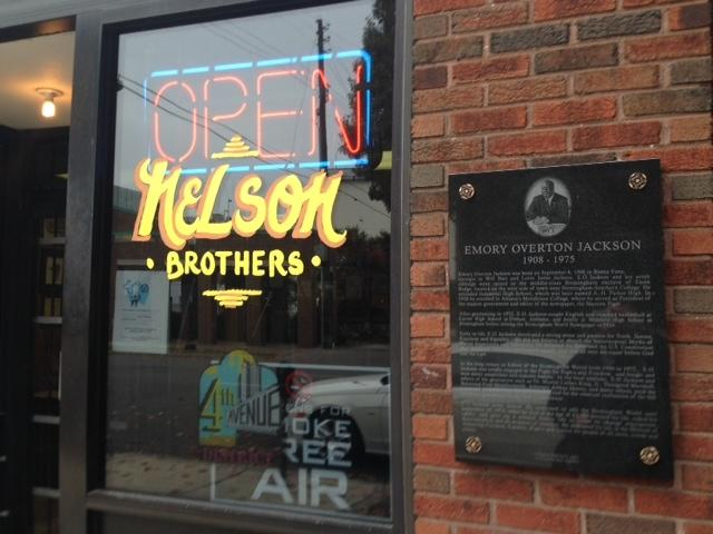 The plaque honoring Emory Jackson sits outside Nelson Brothers Cafe in Birmingham.