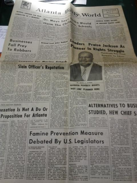 The Atlanta Daily World with an article on Emory Jackson's funeral.