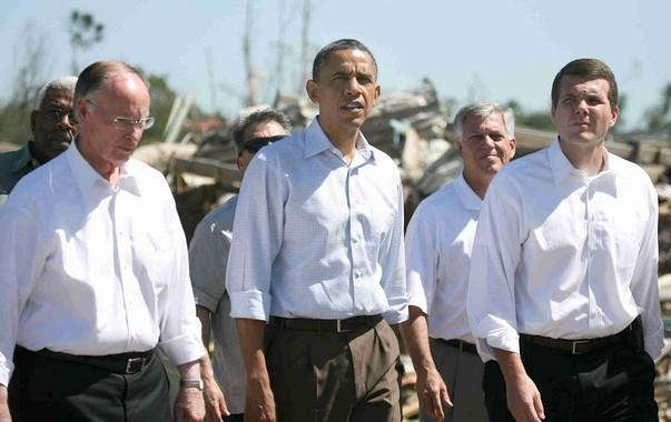 Tuscaloosa Mayor Walt Maddox (R) with President Obama and Governor Robert Bentley following the April 27, 2011 tornado that hit Tuscaloosa