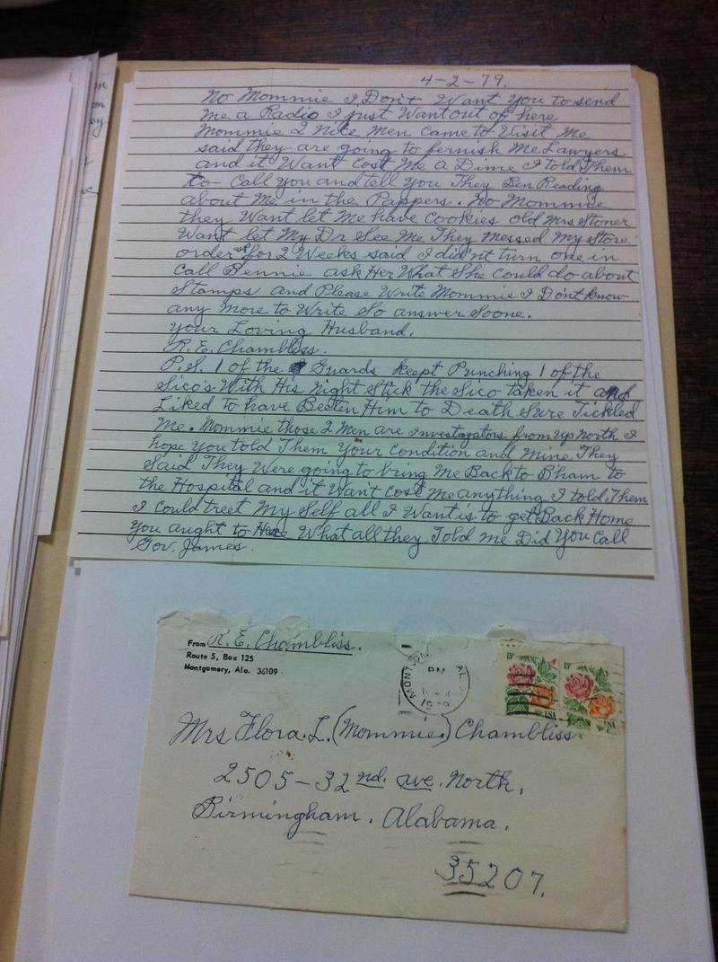 "Jail house letter from 16th Street Baptist Church bomber ""Dynamite"" Bob Chambliss"