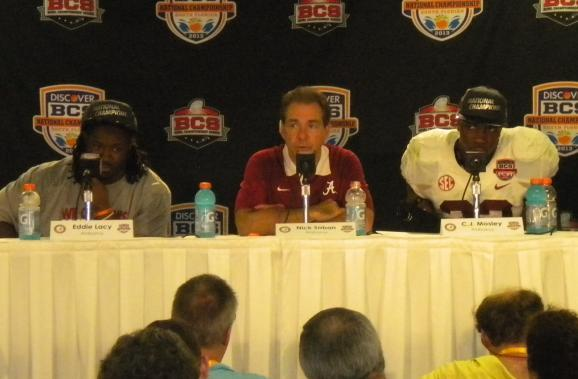 Alabama players Eddie Lacy and C.J. Mosely and head coach Nick Saban take questions following the Crimson Tide's victory over Notre Dame for ther BCS title