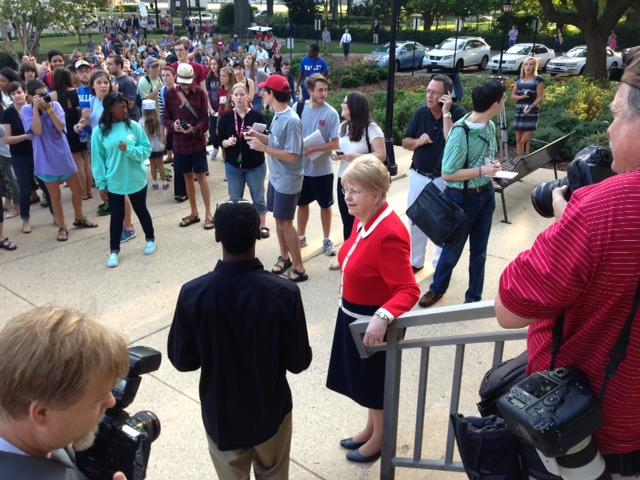 UA Dr. President Judy Bonner meets student protesters during anti-racism rally outside the Rose Administration building on campus.
