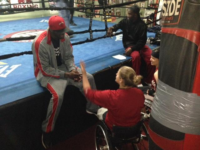 Karolina Lingyte and Cindy Ouellet with Deontay Wilder