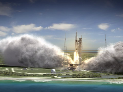 This artist rendering shows a wide-angle view of the liftoff of the 70-metric-ton (77-ton) crew vehicle configuration SLS from the launchpad. The first flight test of NASA's new rocket is scheduled for 2017.