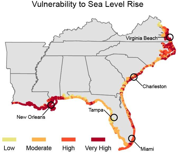 From the report: The map shows the relative risk that physical changes will occur as sea level rises. The Coastal Vulnerability Index used here is calculated