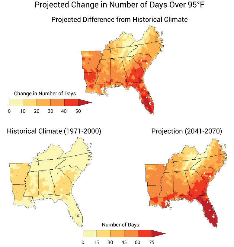 From the report: Projected average number of days per year with maximum temperatures above 95°F for 2041-2070 compared to 1971-2000, assuming emissions continue to grow