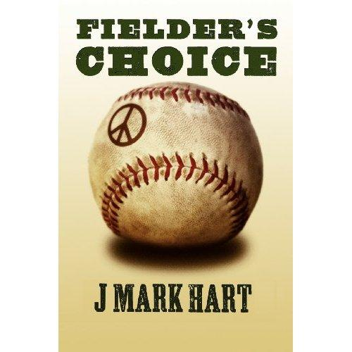 Book cover - closeup of a an old, dusty baseball with a peace symbol in the top left-hand corner