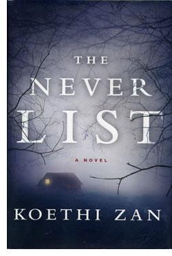 Book cover - house in distance hidden in dark mist behind barren tree limbs