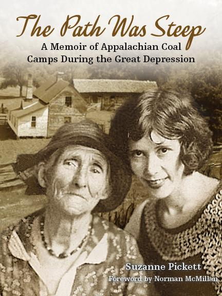 Sepia-toned photograph showcasing two women dressed in Depression-era clothing and an old farmstead in the background